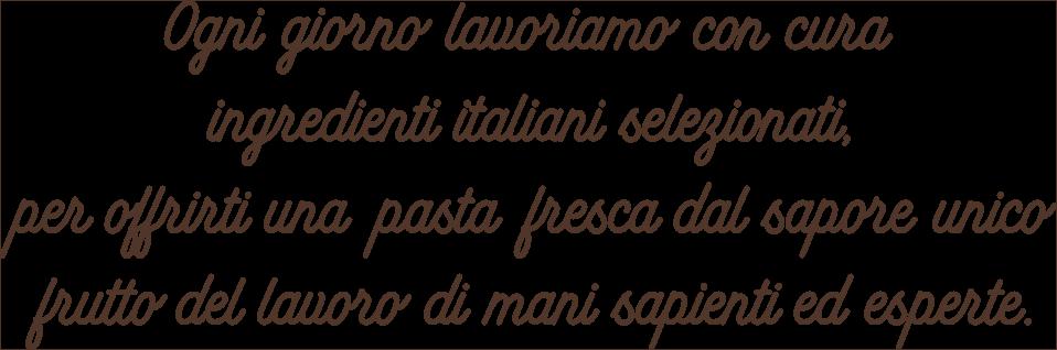 Ogni giorno lavoriamo con curaingredienti italiani selezionati,per offrirti una pasta fresca dal sapore unico,frutto del lavoro di mani sapienti ed esperte.
